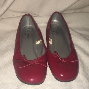 Red shiny shoes ballet flats ! New condition!